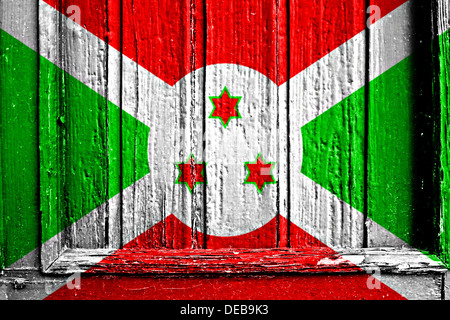 flag of burundi painted on a wooden frame - Stock Photo
