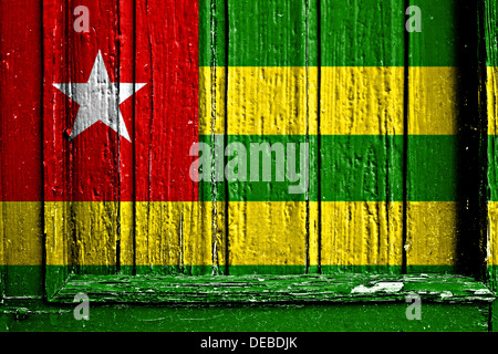 flag of Togo painted on wooden frame - Stock Photo