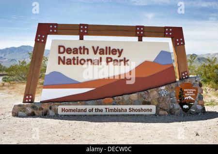 Park entrance sign, Death Valley National Park, California, USA - Stock Photo