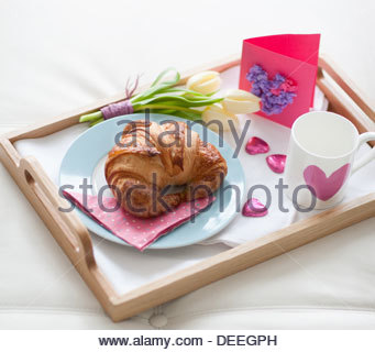 Valentine's Day breakfast tray - Stock Photo