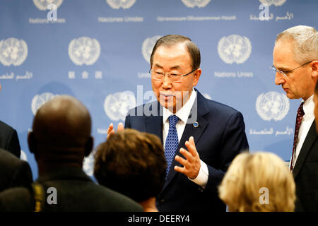 UN Headquarters, New York, USA. 17th September 2013.  Secretary-General of the United Nations, Mr Ban Ki-moon speaks - Stock Photo
