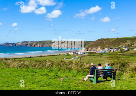 View overthe beach at Newgale on the Pembrokeshire coast, West Wales, UK - Stock Photo