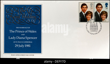 Post Office First Day Cover celebrating the marriage of The Prince of Wales and Lady Diana Spencer in 1981. - Stock Photo