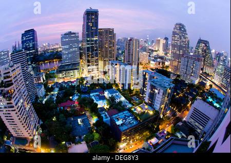 Fisheye view of Bangkok at night from Rembrandt Hotel and Towers, Sukhumvit 18, Bangkok, Thailand, Southeast Asia, - Stock Photo