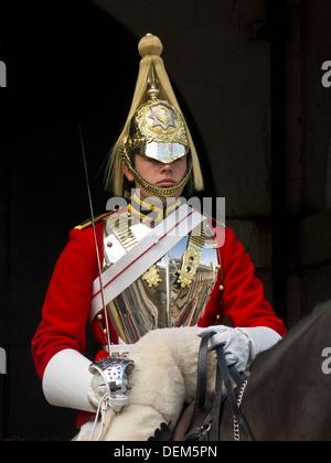 Guardsman on horseback in London - Stock Photo