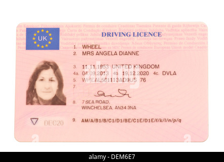UK Photo Driving Licence Photocard (altered details) - Stock Photo