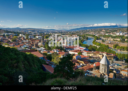 view from above, Narikala Fortress, onto Tbilisi, Georgia - Stock Photo