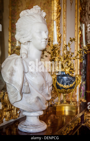 Bust of Marie Antoinette in the Queen's Chambre, Chateau de Versailles, France - Stock Photo