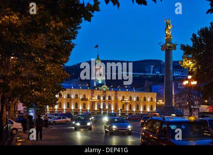 night shot of illuminated townhall or municipality of Tbilisi, Georgia - Stock Photo