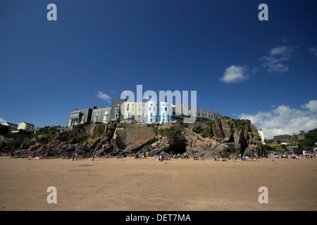 A panoramic view showing Tenby beach and the fine Georgian buildings overlooking it. - Stock Photo