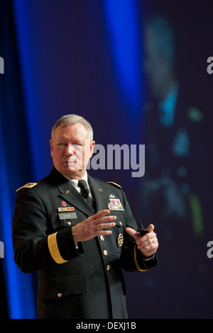 Gen. Frank J. Grass, chief of the National Guard Bureau, addresses an audience during the Air Force Association's - Stock Photo