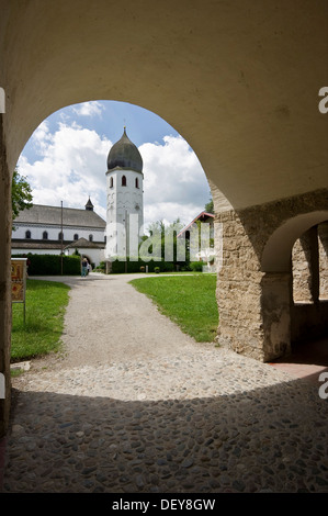 Kloster St Maria Abbey and Carolingian gatehouse, on the island Frauenchiemsee or Fraueninsel, Chiemsee Lake, Chiemgau - Stock Photo