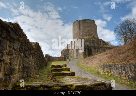 Burg Windeck Castle, keep, Windeck, Rhein-Sieg-Kreis, North Rhine-Westphalia, Germany - Stock Photo