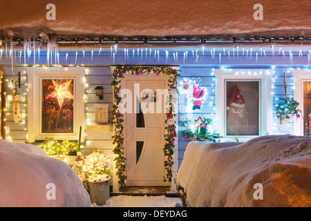 Christmas lights on a house in St. Andreasberg, Harz, Lower Saxony - Stock Photo