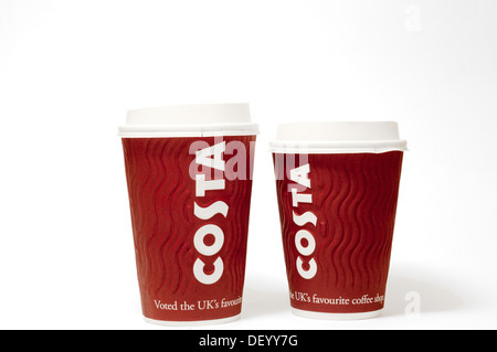 Two disposable  Costa coffee paper cups with plastic lids and the name Costa printed prominently on the side. - Stock Photo