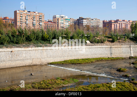 Madrid Rio park and Manzanares river, Madrid Rio, an ecological development, in Madrid, Spain, Europe - Stock Photo