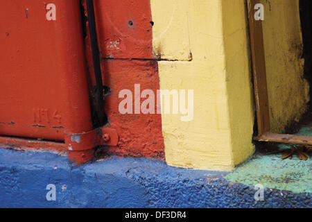 The brightly colored side of a building in the Boca section of Buenos  Aires, Argentina - Stock Photo