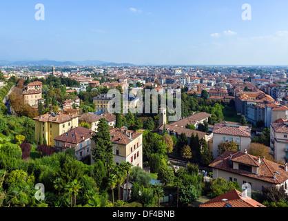 View over Bergamo Bassa from the walls around Bergamo Alta, Lombardy, Italy - Stock Photo