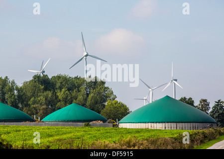 Wind turbines, wind energy, and bio gas plant, - Stock Photo