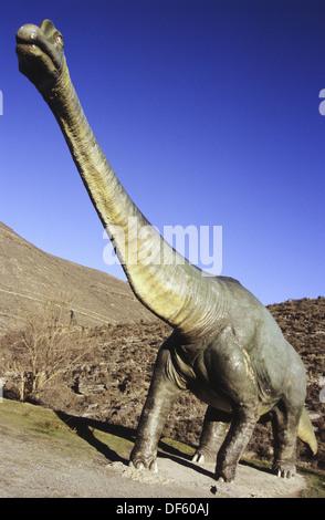 Life size replica of a diplodocus dinosaur in Valdecevillo. Enciso. La Rioja. Spain. - Stock Photo