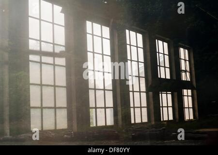Windows of workshop in Jordan River  Vancouver Island, British Columbia, Canada - Stock Photo
