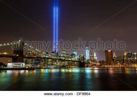 Tribute in Light symbol of World Trade Center towers in the New York Skyline as seen on 12th anniversary of September - Stock Photo
