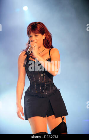 Folk singer Andrea Berg performs during her concert in Hamburg on the 14th of March in 2008. - Stock Photo
