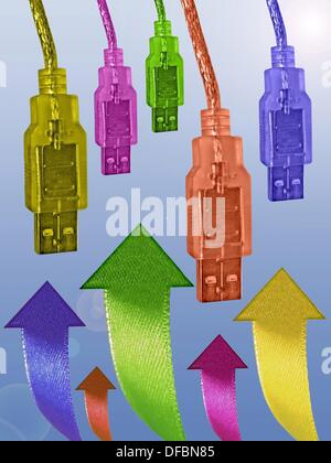 USB cables with Arrows - Stock Photo