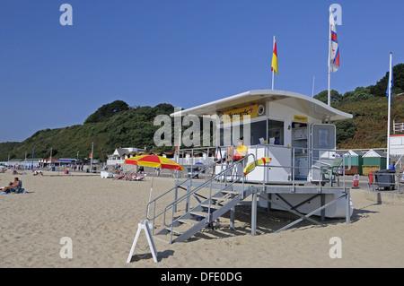 Lifeguard Station on Bournemouth Beach Bournemouth Dorset England - Stock Photo