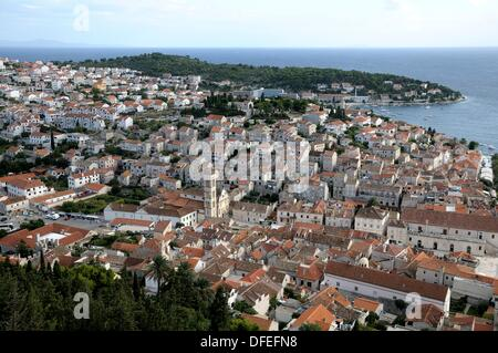 Croatia, Hvar island, Hvar  Old town seen from Spanjola fortress - Stock Photo