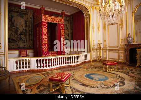 The bedroom of Louis XIV in Chateau de Chambord in the Loire Valley of France - Stock Photo
