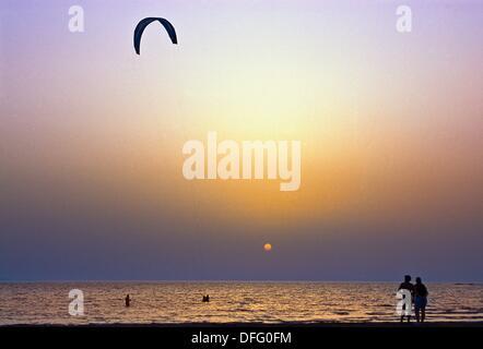 Kite-surf in Prassonissi, Rhodes Island, Greece. - Stock Photo