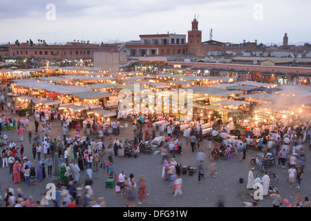Food stalls in the Djemaa el Fna market square, Marrakesh, Marrakesh-Tensift-El Haouz region, Morocco - Stock Photo