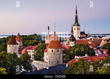 Skyline of Tallinn, Estonia at dusk. - Stock Photo