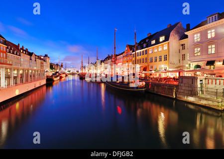 Nyhavn Canal in Copenhagen, Demark. - Stock Photo