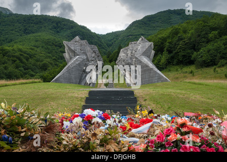 The World War II monument in Sutjeska National Park, Bosnia and Herzegovina - Stock Photo