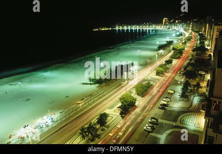 Atlantica Avenue and Copacabana Beach. Rio de Janeiro. Brazil - Stock Photo
