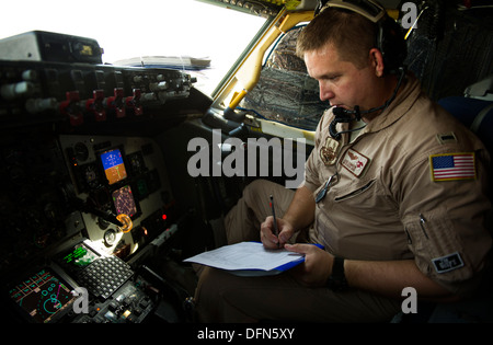 U.S. Air Force 1st Lt. Jake Kummrow, 340th Expeditionary Air Refueling Squadron KC-135 Stratotanker pilot, prepares - Stock Photo