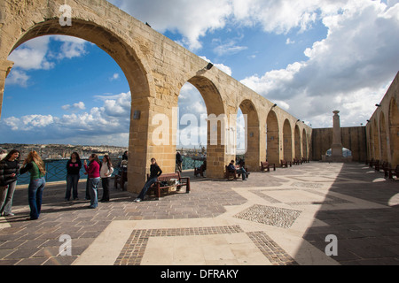 Europe Malta La Valletta Upper Barrakka garden. - Stock Photo