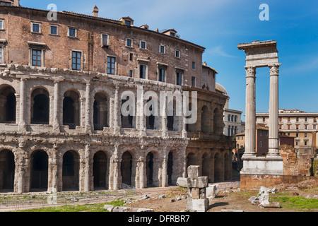 Theater of Marcellus, Teatro di Marcello and the ruins of the Temple of Apollo of Sosianus, Rome, Lazio, Italy, - Stock Photo