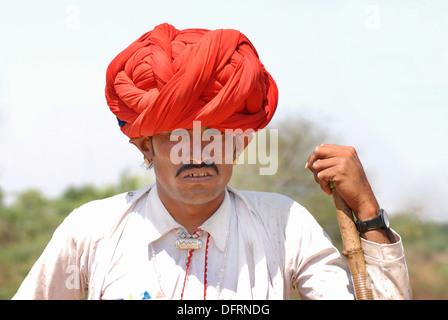 Close up of a Rajasthani man. - Stock Photo