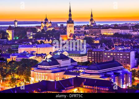 Skyline of Tallinn, Estonia at sunset. - Stock Photo