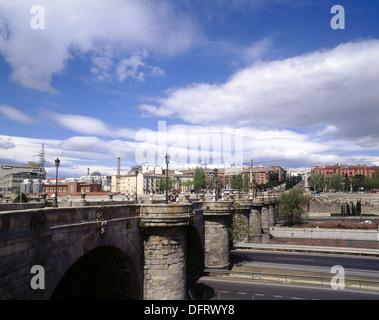Toledo Bridge, by Pedro de Ribera (1715-1732). Manzanares river. Madrid. Spain. - Stock Photo