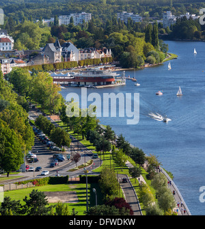 On the right bank of the Allier Lake, an aerial view of the 'la Rotonde' restaurant, the marina and the esplanade - Stock Photo