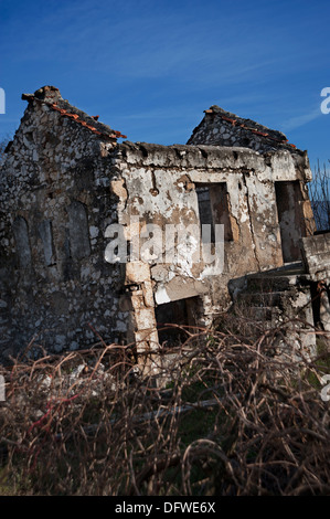 Ruins of a house in a town of Mostar, destroyed in the war in Bosnia. - Stock Photo
