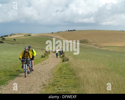 Cyclists and walkers on the South Downs Way between Clayton and Ditchling in West Sussex on a summer day - Stock Photo