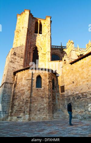 Church of St. Mary of the Assumption, the thirteenth century. Castro Urdiales. Cantabria. Spain. - Stock Photo