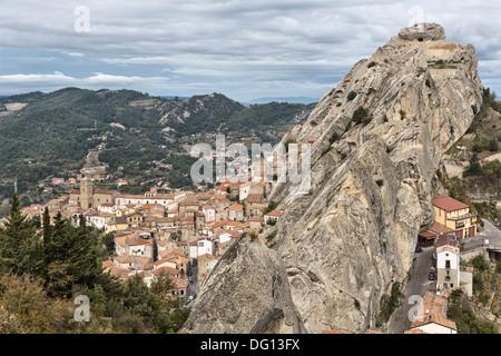 Pietrapertosa, a hill village in the Dolomiti Lucane, Basilicata, Italy - Stock Photo