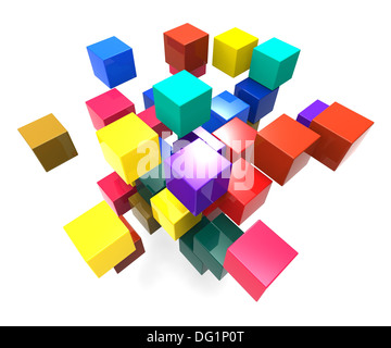 Exploding Blocks Showing Scattered Puzzle And Explosion - Stock Photo