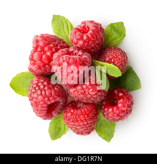 Sweet raspberry with green leaves isolated on white - Stock Photo